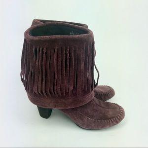 Born suede leather fringe boots hippie boho